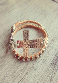 Double Wrap Cross Bracelet