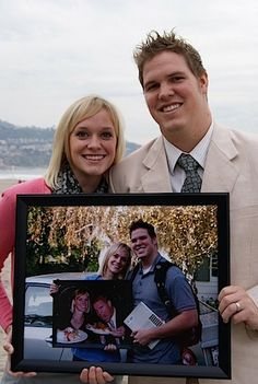Pose for a photo on your anniversary, holding the frame from last year. Repeat!