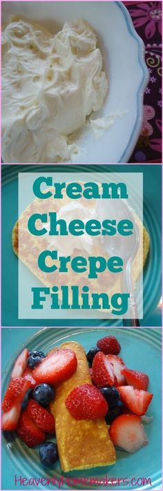 Cream Cheese Filling For Your Crepes While Matt and I were cooking out at camp a couple weeks ago, we were blessed to work with a very talented lady who has been cooking for campers for years. Homemade Crepes with cream cheese fil Cream Cheese Crepe Filling, Crepes Filling, Filling Recipe, Macaron Filling, Köstliche Desserts, Delicious Desserts, Dessert Recipes, Yummy Food, Plated Desserts