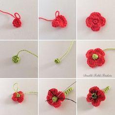 poppy flower--Double Treble Trinkets Crochet Fabric, Crochet Stitches, Crochet Doilies, Knit Crochet, Crochet Bookmark Pattern, Crochet Bookmarks, Crochet Designs, Crochet Patterns, Crochet Leaves
