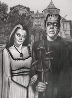 The Munsters' American Gothic by Jessica Ward The Munsters, Munsters Tv Show, Grant Wood, Beetlejuice, Deviant Art, Horror Art, Horror Movies, Horror Icons, Cult Movies