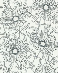Sherwin Williams removable wallpaper: this navy and white floral pattern would be cute in the kitchen or bathroom.