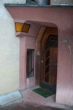 Goetheanum in Dornach by Rudolf Steiner Entrance of a nearby house