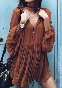 Khaki Plain Pleated Long Sleeve Casual Cotton Mini Dress