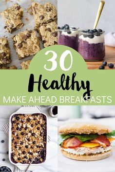 30 ideas for healthy breakfast options that you can make ahead! Save time and eat healthier by meal prepping breakfast for the week. You'll find ideas for breakfast sandwiches, baked oatmeal, chia seed pudding, overnight oats and more. Healthy Make Ahead Breakfast, Make Ahead Breakfast Casserole, How To Make Breakfast, Sweet Breakfast, Perfect Breakfast, Delicious Donuts, Delicious Breakfast Recipes, Brunch Recipes, Egg Bites Recipe
