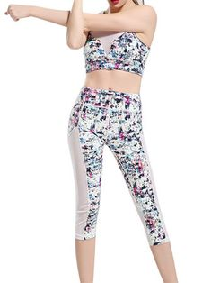 Women Sexy Colorful Printing Yoga Tracksuit Fitness Leggings Vest Bra Sport Suit