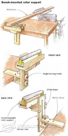 Bench-Mounted Roller Support - Workshop Solutions Plans, Tips and Tricks - Woodwork, Woodworking, Woodworking Plans, Woodworking Projects Woodworking Workshop, Woodworking Projects Diy, Woodworking Jigs, Diy Wood Projects, Carpentry, Wood Tools, Diy Tools, Workbench Plans, Homemade Tools