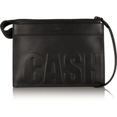 3.1 Phillip Lim Cash Only embossed leather clutch ($298) ❤ liked on Polyvore featuring bags, handbags, clutches, black, leather clutches, real leather purses, black leather purse, embossed leather handbag and leather purse