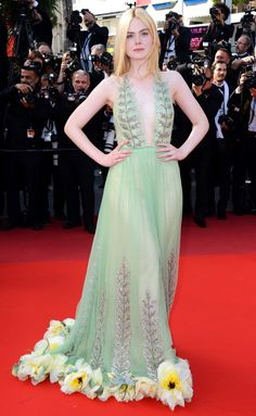 Best Dressed Stars on Cannes Red Carpet 2017 - Elle Fanning in a Gucci dress