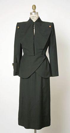 Suit, Gilbert Adrian (1940s). Wool.