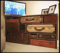 Tv stand, tv cupboard, tv cabinet, suitcases, upcycling retro