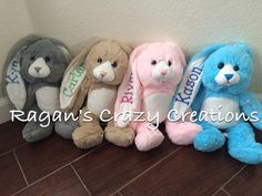 Easter bunny stuffed animal personalized by RagansCrazyCreations