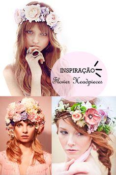 tendência das coroas de flores - tiara de flores, acessórios de flores, flores na cabeça, flower headband, flower headpiece.  http://viroutendencia.com/2014/02/23/inspiracao-tendencia-das-flower-headpieces-ou-coroas-de-flores/