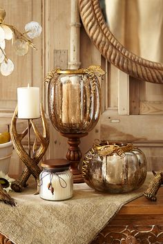 For anyone who loves fall, candles and/or pumpkins, Pier 1's Amber Luster Leaf Pumpkins are a real treat. In the spirit of traditional jack-o'-lanterns, these handcrafted glass pumpkins feature a lustrous amber finish and a hollow core. The golden, powder-coated iron holster is removable, making it easy to insert your favorite pillar. And that's no trick.
