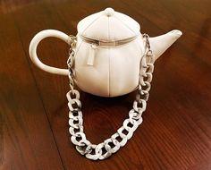 Teapot Shaped Clutch Purse Handbag in Silver, White, Orange Baskeball