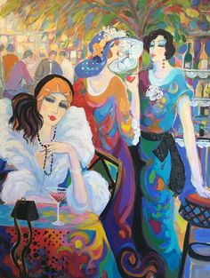 There Woman At a Cafe 1988 by Isaac Maimon - Oil on Canvas Woman Painting, Figure Painting, Mademoiselle Chante Le Blues, Figurative Kunst, Cafe Art, Art Academy, Klimt, Illustrations And Posters, Beautiful Paintings