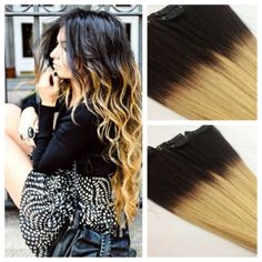 READY to SHIP  12 Black Ombre Clip In Hair by TheHairAffair, $74.99