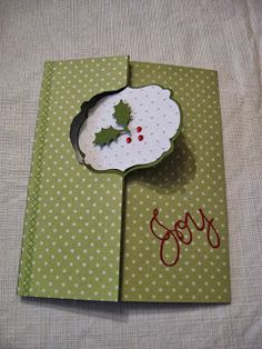 Holly Thinlit Flip Christmas extended Christmas Card Scrap Rx