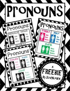 Many second language learners struggle with gender pronouns. Here are three poster designs to help remind students in both speaking and writing which pronouns are feminine and which are masculine. Follow me for more great products and FREEBIES! Enjoy!