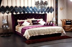 Modrest Majestic Transitional Purple Fabric Eastern King Size Bed VGKNN5028-PURPLEProduct :?ÿ‹¯¨16076Features:Modern BedHeadboard is upholstered in top-grain tufted Eco-LeatherHeadboard is tufted with artificial crystalsBeautiful Wooden Leg DesignColor: PurpleDimensions :Eastern King?ÿBed: W103