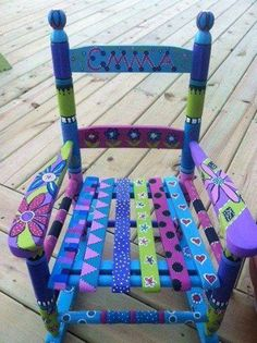 Each rocking chair will be painted when it is ordered. The chair will be painted with these same bright colors, but the design may vary Whimsical Painted Furniture, Hand Painted Furniture, Funky Furniture, Recycled Furniture, Colorful Furniture, Paint Furniture, Furniture Projects, Furniture Makeover, Decoupage Furniture