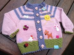 Cardigans - image e-book jacket 'Flower meadow'! - a novel product by Sonnenkinder on DaWanda Baby Knitting Patterns, Baby Cardigan Knitting Pattern, Kids Patterns, Knitting For Kids, Crochet For Kids, Knitting Designs, Gestrickte Booties, Knitted Booties, Toddler Jerseys