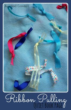 Ribbon Pulling Quiet book page-- I LOVE THIS!! and it is so easy!