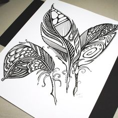 Three Feathers . Original Pen Drawing . Abstract Feathers . Feather Art . Black and White Art . Tattoo Art