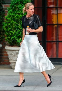 Shop the Look: Maria Bello #stripes #seethrough