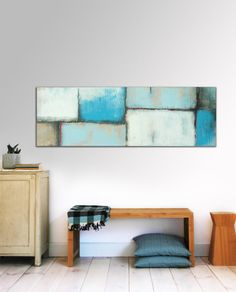"XL Abstract painting - Blue and Blue Shades - Acrylic painting Modern Art - 59.1"" x 19.7"" FREE SHIPPING nr0"