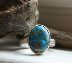 Blue Golden Turquoise Gemstone Metal Work by MissieRabdau on Etsy, $110.00