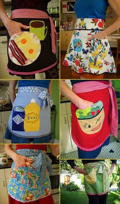 Adorable apron collection. - I'd love the one on the top left done with a tea cup and saucer rather than breakfast foods. :)
