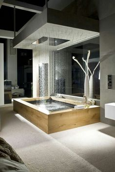 Modern bath with rain shower #rainshower #bath #bathroom