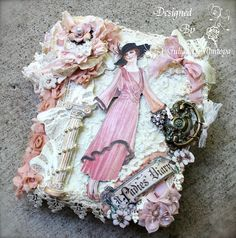 Look at this absolutely amazing A Ladies' Diary altered vintage journal from Juliana of the ILuvVintageScrap blog! So many stunning details, it's hard to know where to begin! #graphic45
