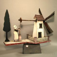Folk Art Painted Wood and Metal Windmill and Maiden with Churn Whirligig