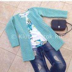 Голубой кардиган от Natalii_lat | Вязание для женщин | Вязание спицами и крючком. Схемы вязания.