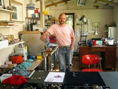 Karl Fritsch in the Island Bay studio he built himself.