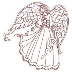 Redwork Love Angel embroidery design