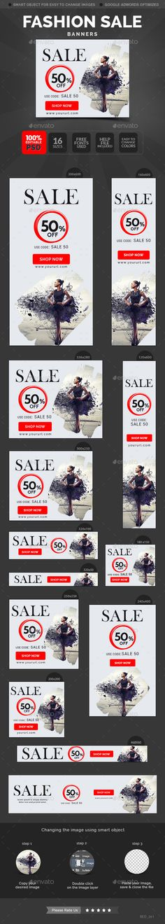 Fashion Sale Banners Template #design Download: http://graphicriver.net/item/fashion-sale-banners/11759307?ref=ksioks