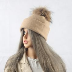 2017 Spring Autumn Wool Beanies Hats For Women Real Raccoon Fur Caps Mink Fur Pompom Hat