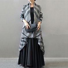 Women autumn and winter woolen loose long coat -Buykud  - 1