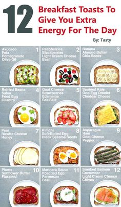 12 Breakfast Toasts To Give You Extra Energy For The Day Gwyl io is part of Healthy breakfast menu - These breakfast toast ideas will give you just what you need and are complete with healthy ingredients and yummy combinations that Healthy Breakfast Menu, Breakfast Toast, Breakfast Energy, Light Breakfast Ideas, Diet Breakfast, Fast Breakfast Ideas, Healthy Breakfast Recipes For Weight Loss, High Protein Breakfast, Greek Yogurt Recipes Breakfast