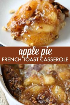 Apple Pie French Toast Casserole - Indulge a little with a slice of this decaden. - Apple Pie French Toast Casserole – Indulge a little with a slice of this decadent Apple Pie Frenc - Breakfast Appetizers, Breakfast Dessert, Breakfast Dishes, Apple Breakfast, Appetizer Dessert, French Breakfast Foods, Tasty Breakfast Recipes, Make Ahead Brunch Recipes, Christmas Breakfast Casserole