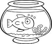 fishbowl clipart   Cartoon fish in a fish bowl - clipart graphic