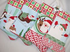 Santa~Snowman Stocking set. https://www.etsy.com/listing/211456908/your-choice-set-of-4-patchwork-christmas?ref=shop_home_active_1