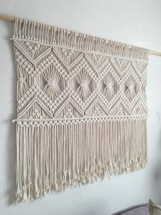 Large macrame wall hanging, Living room decoration, tapestry, boho chic home Large macrame wall hanging wedding backdrop decor tapestry Macrame Wall Hanging Patterns, Large Macrame Wall Hanging, Macrame Patterns, Macrame Wall Hangings, Quilt Patterns, Tapestry Wall Hanging, Diy Deco Rangement, Macrame Design, Macrame Art