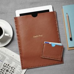 I've just found Personalised Set For IPad And Card Holder. This pack consists of a personalised handmade tan leather iPad case and leather card holder lined with wool to keep your gadgets protected.. £65.00