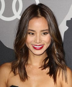 View and try on this Jamie Chung Medium Wavy Casual  hairstyle - Medium Brunette (Chocolate).