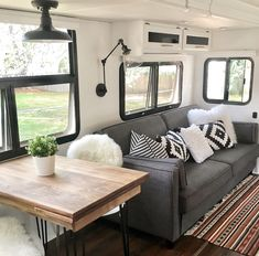 decorating ideas rv interior 35 Fabulous Farmhouse RV Decor Ideas for Perfect Holiday Rv Interior, Interior Design, Remodel Caravane, Casas Trailer, Dining Booth, Dining Table, Couch Table, Table Legs, Travel Trailer Remodel