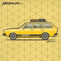 Static Low VW Dasher Wagon on Porsche Wheels - Car shirts starting at $18.50 #vw #volkswagen #porsche #vdub +++ artsmoto.com